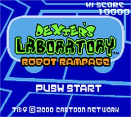Title screen of Dexter's Laboratory: Robot Rampage on the Nintendo Game Boy Color.