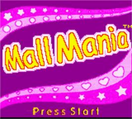 Title screen of Diva Starz: Mall Mania on the Nintendo Game Boy Color.