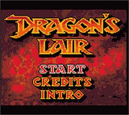 Title screen of Dragon's Lair on the Nintendo Game Boy Color.