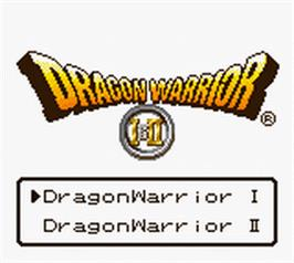 Title screen of Dragon Warrior 1 & 2 on the Nintendo Game Boy Color.