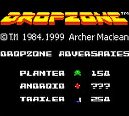 Title screen of Dropzone on the Nintendo Game Boy Color.