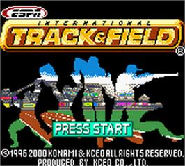 Title screen of ESPN International Track & Field on the Nintendo Game Boy Color.