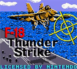 Title screen of F-18 Thunder Strike on the Nintendo Game Boy Color.
