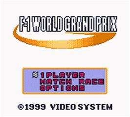 Title screen of F-1 World Grand Prix on the Nintendo Game Boy Color.