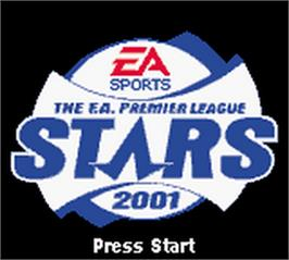 Title screen of F.A. Premier League Stars 2001 on the Nintendo Game Boy Color.