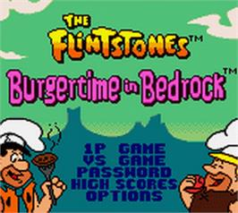 Title screen of Flintstones: Burgertime in Bedrock on the Nintendo Game Boy Color.