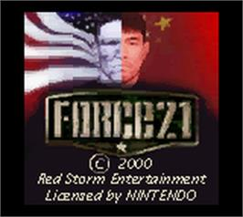 Title screen of Force 21 on the Nintendo Game Boy Color.