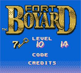 Title screen of Fort Boyard on the Nintendo Game Boy Color.