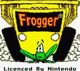 Title screen of Frogger on the Nintendo Game Boy Color.
