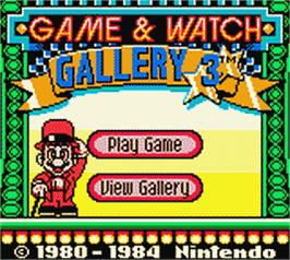 Title screen of Game & Watch Gallery 3 on the Nintendo Game Boy Color.