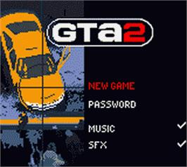 Title screen of Grand Theft Auto 2 on the Nintendo Game Boy Color.