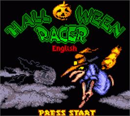 Title screen of Halloween Racer on the Nintendo Game Boy Color.