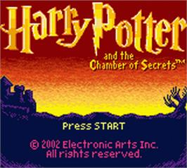 Title screen of Harry Potter and the Chamber of Secrets on the Nintendo Game Boy Color.