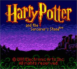Title screen of Harry Potter and the Sorcerer's Stone on the Nintendo Game Boy Color.