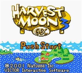 Title screen of Harvest Moon 3 GBC on the Nintendo Game Boy Color.