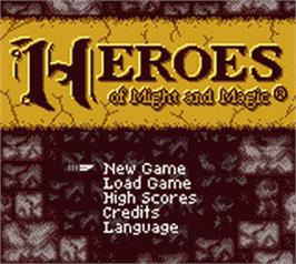 Title screen of Heroes of Might and Magic on the Nintendo Game Boy Color.