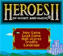 Title screen of Heroes of Might and Magic 2 on the Nintendo Game Boy Color.