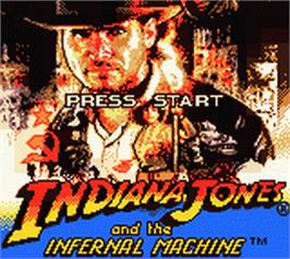 Title screen of Indiana Jones and the Infernal Machine on the Nintendo Game Boy Color.
