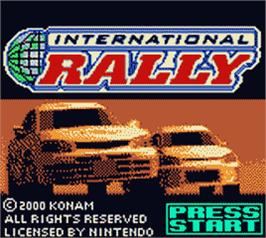 Title screen of International Rally on the Nintendo Game Boy Color.
