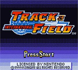 Title screen of International Track & Field on the Nintendo Game Boy Color.