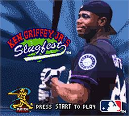 Title screen of Ken Griffey Jr.'s Slugfest on the Nintendo Game Boy Color.