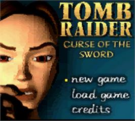 Title screen of Lara Croft Tomb Raider: Curse of the Sword on the Nintendo Game Boy Color.