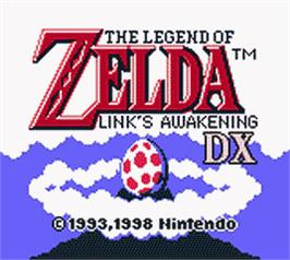 Title screen of Legend of Zelda: Link's Awakening DX on the Nintendo Game Boy Color.