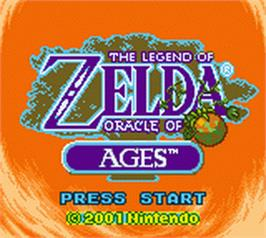 Title screen of Legend of Zelda: Oracle of Ages on the Nintendo Game Boy Color.
