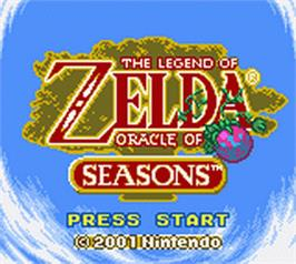 Title screen of Legend of Zelda: Oracle of Seasons on the Nintendo Game Boy Color.