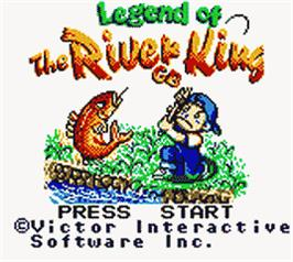 Title screen of Legend of the River King GB on the Nintendo Game Boy Color.