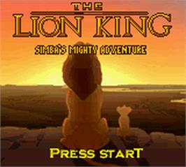 Title screen of Lion King: Simba's Mighty Adventure on the Nintendo Game Boy Color.