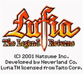 Title screen of Lufia: The Legend Returns on the Nintendo Game Boy Color.