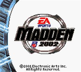 Title screen of Madden NFL 2002 on the Nintendo Game Boy Color.