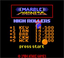 Title screen of Marble Madness on the Nintendo Game Boy Color.