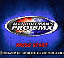 Title screen of Mat Hoffman's Pro BMX on the Nintendo Game Boy Color.