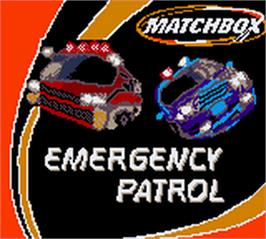 Title screen of Matchbox: Emergency Patrol on the Nintendo Game Boy Color.