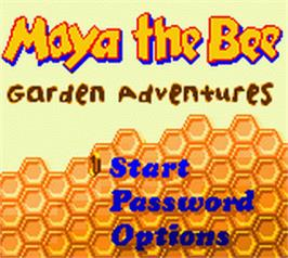 Title screen of Maya the Bee - Garden Adventures on the Nintendo Game Boy Color.