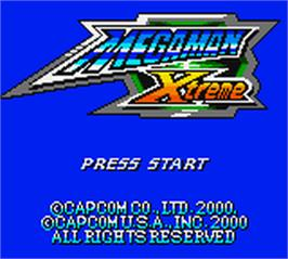 Title screen of Mega Man XTreme on the Nintendo Game Boy Color.