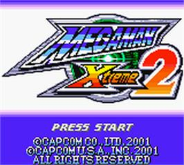 Title screen of Mega Man Xtreme 2 on the Nintendo Game Boy Color.
