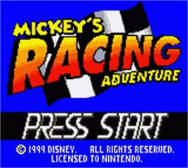 Title screen of Mickey's Racing Adventure on the Nintendo Game Boy Color.