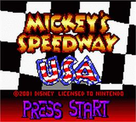 Title screen of Mickey's Speedway USA on the Nintendo Game Boy Color.