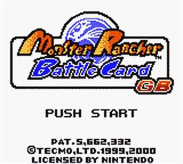 Title screen of Monster Rancher BattleCard GB on the Nintendo Game Boy Color.