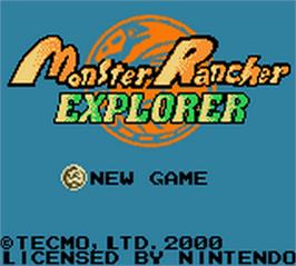 Title screen of Monster Rancher Explorer on the Nintendo Game Boy Color.