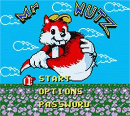 Title screen of Mr. Nutz on the Nintendo Game Boy Color.