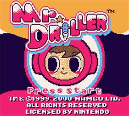 Title screen of Mr Driller on the Nintendo Game Boy Color.