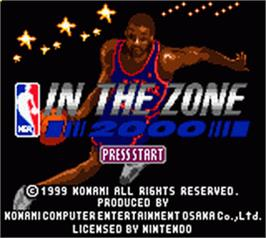 Title screen of NBA in the Zone 2000 on the Nintendo Game Boy Color.