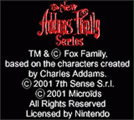 Title screen of New Addams Family Series on the Nintendo Game Boy Color.