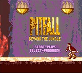 Title screen of Pitfall - Beyond the Jungle on the Nintendo Game Boy Color.