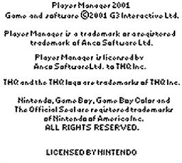 Title screen of Player Manager 2001 on the Nintendo Game Boy Color.