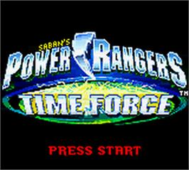 Title screen of Power Rangers: Time Force on the Nintendo Game Boy Color.